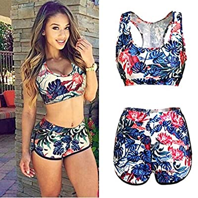 Womens Summer Two Piece Printed Colorful High Waist Halter Bikini Swimsuit Beach Tank Top
