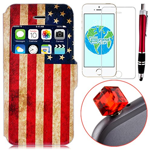 GrandEver 4 in 1 Custodia in Pelle PU Leather Case Open Window per iPhone 5 5S 5G Smart Window Book Style Cassa Folio Cover Protettive Casa Morbido Silicone Back Retro Design + Anti-Dust Plug + Stilo Penna + Pellicola Protettiva-American Bandiera