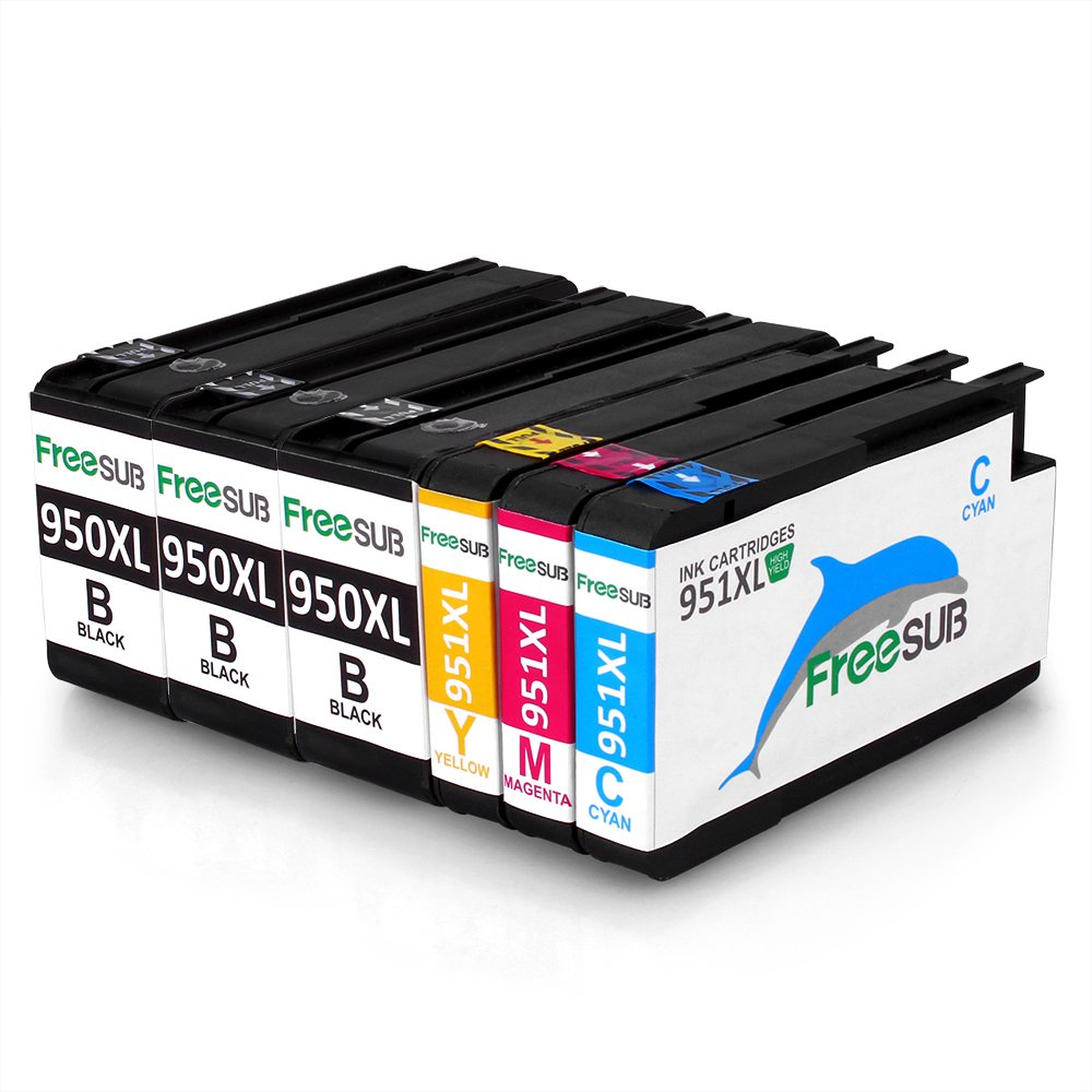 FreeSub High Capacity Replacement For HP 950 951 Ink Cartridge 1 Set+2 Black Use With HP Officejet Pro 8600 8610 8620 8630 8640 8660 8615 8625 251dw 276dw