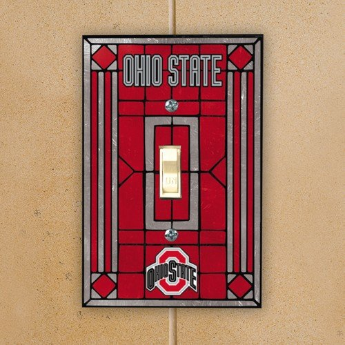 NCAA Ohio State Buckeyes Scarlet Art-Glass Switch Plate Cover