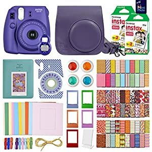 FujiFilm Instax Mini 8 Camera Grape-Purple + 40 Instax Film + MiniMate Accessory Bundle. Kit includes: Case, Frames, 64 page Photo Album, Selfie Lens, Colored Filters and more