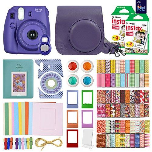 FujiFilm Instax Mini 8 Camera Grape-Purple + 40 Instax Film + MiniMate Accessory Bundle. Kit includes: Case, Frames, 64 page Photo Album, Selfie Lens, Colored Filters and more (Mini Instax 8 Grape Kit compare prices)