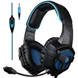 Gaming Headset SADES SA807 Xbox one PC PS4 Gaming Headphone 3.5mm Plug Wired Stereo Over Ear Headphones for Multi-Platform with Mic Volume Control (Color: SA807BLUE)