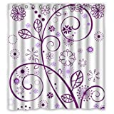 "Luxury Graceful Beautiful Purple Flowers Elegant Pattern Shower Curtain 66""x72"" New Waterproof Polyester Fabric - Graceful Bathroom Curtain"