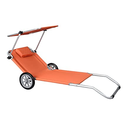 Tumbona de playa chaise longue ruedas Malibu-parasol integrado carro MAX, color naranja