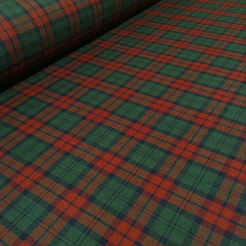 Polyester, Viskose, mit Schottenmuster, gewebt, mit Schottenrock, Minirock, Oberteil, Hosen, Basteln ca. 147.32 cm, 148 cm breit, Rot/Grün