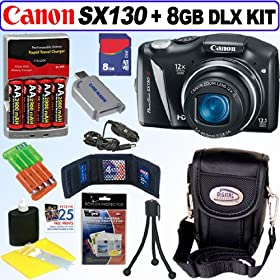 Canon PowerShot SX130IS 12.1 MP Digital Camera + 8GB Deluxe Accessory Kit
