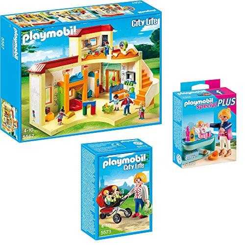 PLAYMOBIL® City Life 3-teiliges Set 5567 5573 5368 KiTa Sonnenschein + Zwillingskinderwagen + Mutter mit Baby-Wickeltisch