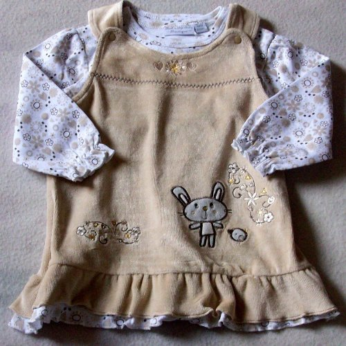6-12 months - Baby Girls Dress Outfit - Gorgeous Velour Cream Light Brown BUNNY & BIRD Pinafore Dress and Long-sleeved Floral Top Set / Babies Winter Clothes