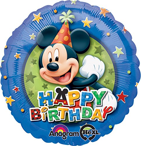 Anagram International Mickey Birthday Stars Foil Balloon Pack, Multicolor