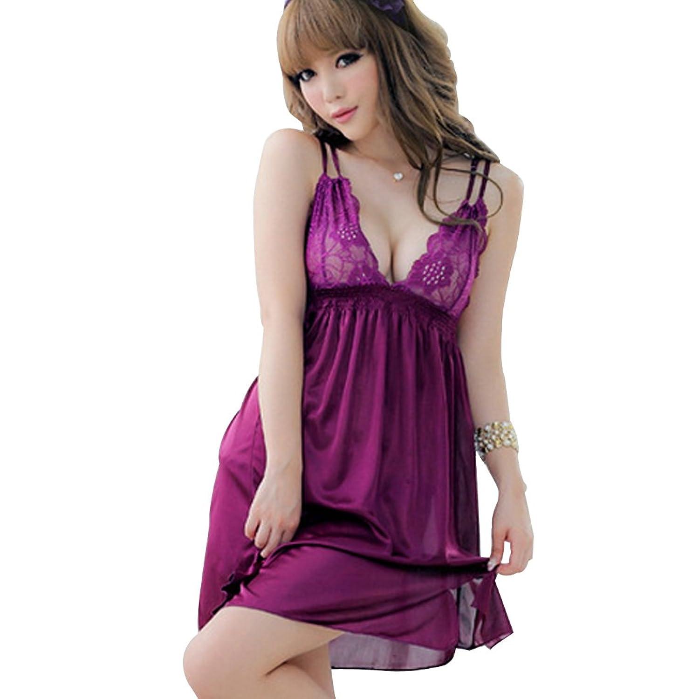Deercon Frauen-reizvolle purpurrote Silk Spitze-W?sche-Kleid-Nachtzeug Babydoll Sleepwear G-string jetzt kaufen