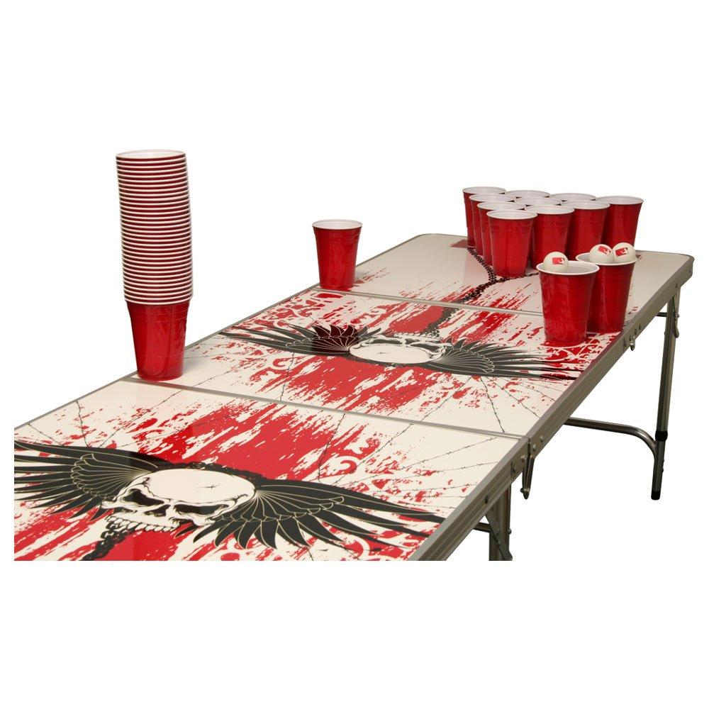 Skull Beer Pong Tisch Set – 1 Beer Pong Tisch inkl. 50 SOLO Red Cups und 6 Bällen günstig