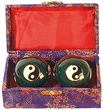 Qi Gong Kugel emailliert Yin Yang grün 45mm