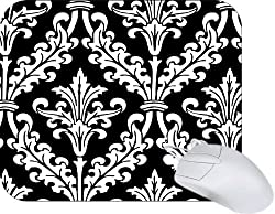 Rikki Knight Black and White Color Damask Design Mouse Pad Mousepad - Ideal Gift for all occassions!