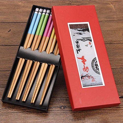 DZT1968 New 5 Pairs Chopsticks Bamboo Panda Wood Assorted Beautiful Chop Sticks Set