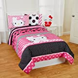 Hello Kitty Dots Beautiful 5pc Full Comforter and Sheet Set Bedding Collection