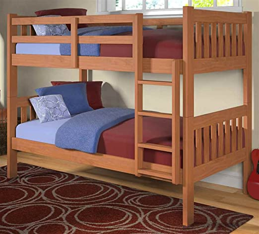 Twin Over Twin Bunk Bed in Honey