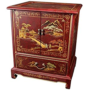 Oriental Furniture Asian Furniture and Decor 24-Inch Japanese Lacquered Oriental End Table/Nightstand, Red Matte