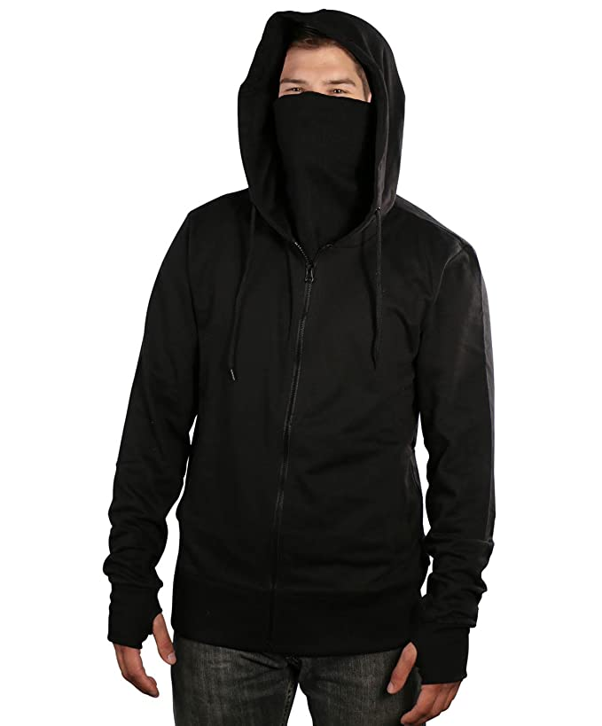 ARSNL Men's Fleece Full Zip Ninja Hoodie-Black-Large
