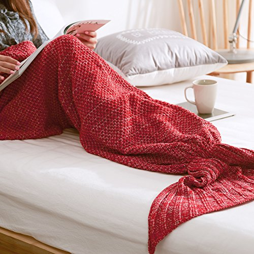 Wuiyepo Meerjungfrau Strickmuster Decke All Seasons Gestrickte Seatail Decke, Schlafsack Schlafsofa Snuggle Mermaid (Rote) thumbnail