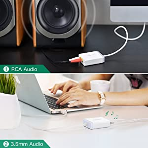 Mac Headphone and Microphone Linux and PS4,Sampling Rate 96KHz Plug and Play on Windows 3ft Cable UGREEN USB External Stereo Sound Adapter with 3.5mm Aux Stereo and 2RCA for Speaker