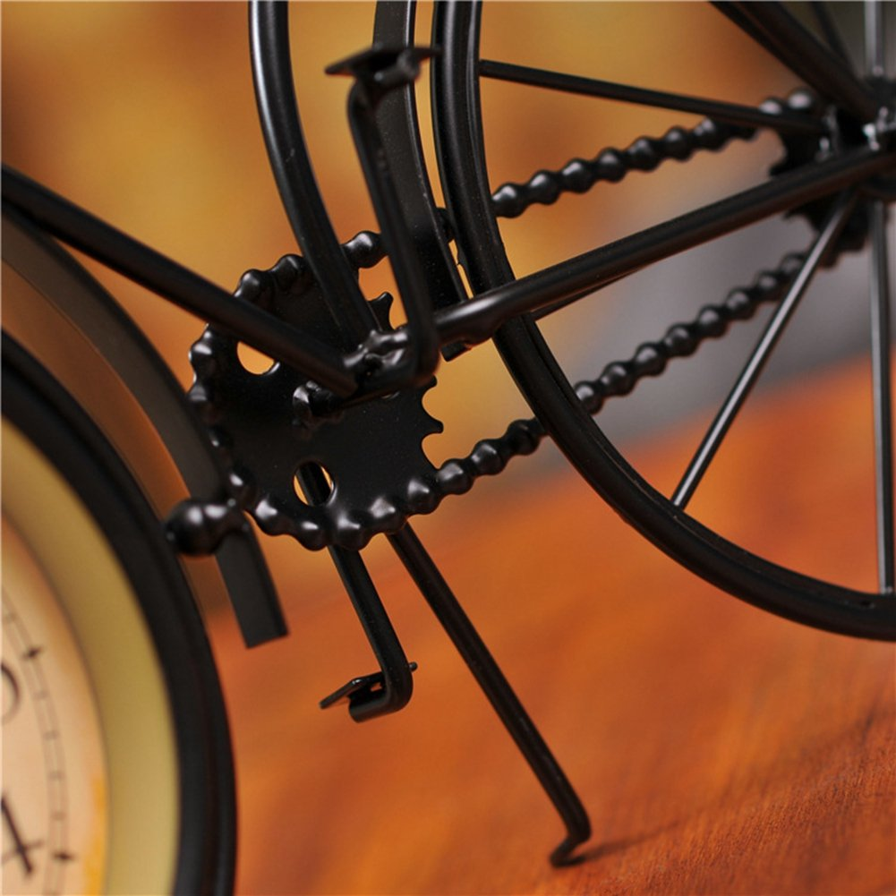 NEOTEND Handmade Vintage Bicycle Clock Bike Mute Black Table Clock Black Color 4