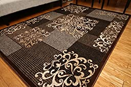 New City Contemporary Modern Flowers Squares Wool Area Rug, 5\'2 x 7\'3, Brown