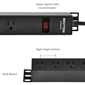 BESTTEN 1U PDU, 8-Outlet Metal Power Strip with 9ft Extension Cord and Surge Protector (900 Joules), 15A/125V/1875W, 19-inch Server Rack Mount Power Distribution Unit, ETL Listed (Color: Black, Tamaño: 8 Outlets)