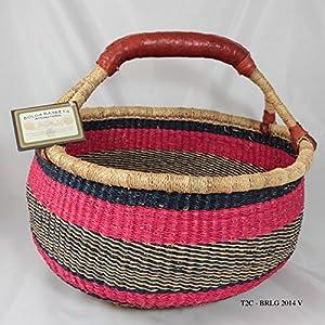 Amazon.com - Bolga Baskets International Large Market Basket w/Leather Wrapped Handle - Magazine