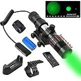 Beileshi Adjustable Green Laser Pointer Laser Sight Designator/Illuminator/Flashlight W/Weaver Mount (Color: Black)