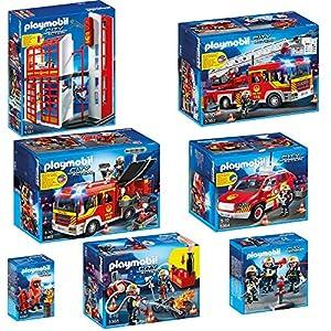 PLAYMOBIL® City Action corps de pompiers set en 7 parties 5361 5362 5363 5364 5365 5366 5367 corps de pompiers quartier général + Camion de pompiers + Fourgon d'intervention de pompier + Voiture des capitaine des pompiers + pompiers avec pompe à eau + pompiers + unité spéciale de pompiers