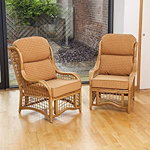 Home & Garden Direct Conservatory Bali Cane Honey Chair With Cushion Choice of Colours 2 Pack from Home & Garden Direct