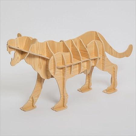 WSZYD Cara de madera de la tabla de leopardo animales de mesa en forma de estantes librería de madera de la consola adornos creativos caseros decoraciones 126 * 56 * 26cm ( Color : D )
