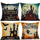 HOSL PW01 4-Pack Happy Halloween Cotton Linen Square Burlap Decorative Throw Pillow Case Cushion Cover Bat Pumpkin