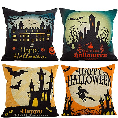 4-Pack Happy Halloween Burlap Throw Pillow Cushion Covers