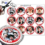 12 x PRE-CUT Comic Relief 1 Direction Edible Cake Toppers / Decorations
