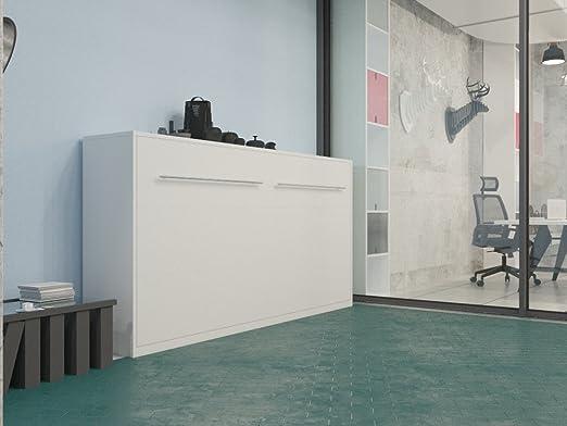 Armario Smart cama plegable 90cm Horizontal Color Blanco Brillante