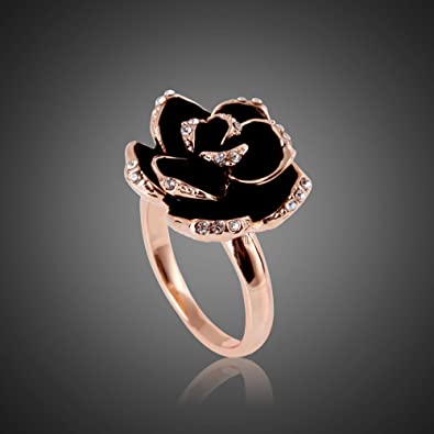 Pave Austrian Crystal High Quality Gold Plated and Black Flower Ring Valentine Gift