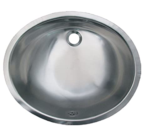 Whitehaus WH920ASL-SASS 18 1/12-Inch Smooth Oval Undermount Lavatory Basin with Overflow