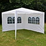 Nexos-GM36090-PE-Pavillon-Partyzelt-mit-2-Seitenteilen-fr-Garten-Terrasse-Markt-Camping-Festival-als-Unterstand-und-Plane-wasserdicht-3-x-3-m-wei