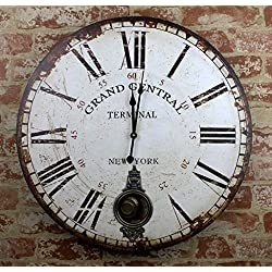 23 Large GRAND CENTRAL Pendulum Wooden Wall Clock New York