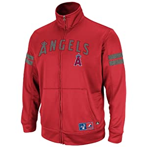 MLB Los Angeles Angels Delay Of Game Ath Red Athletic Gray Marled Long Sleeve Mock... by Majestic