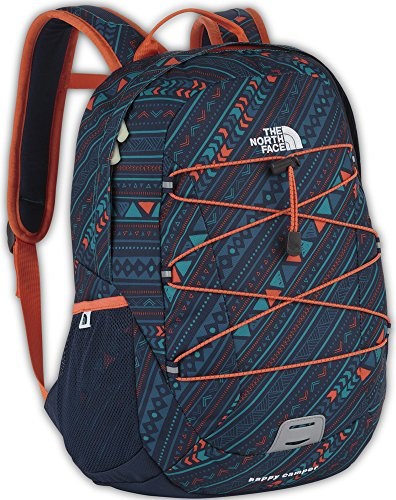 The North Face Happy Camper Backpack Youth Fanfare Green Ditsy Stripe Print front-897432