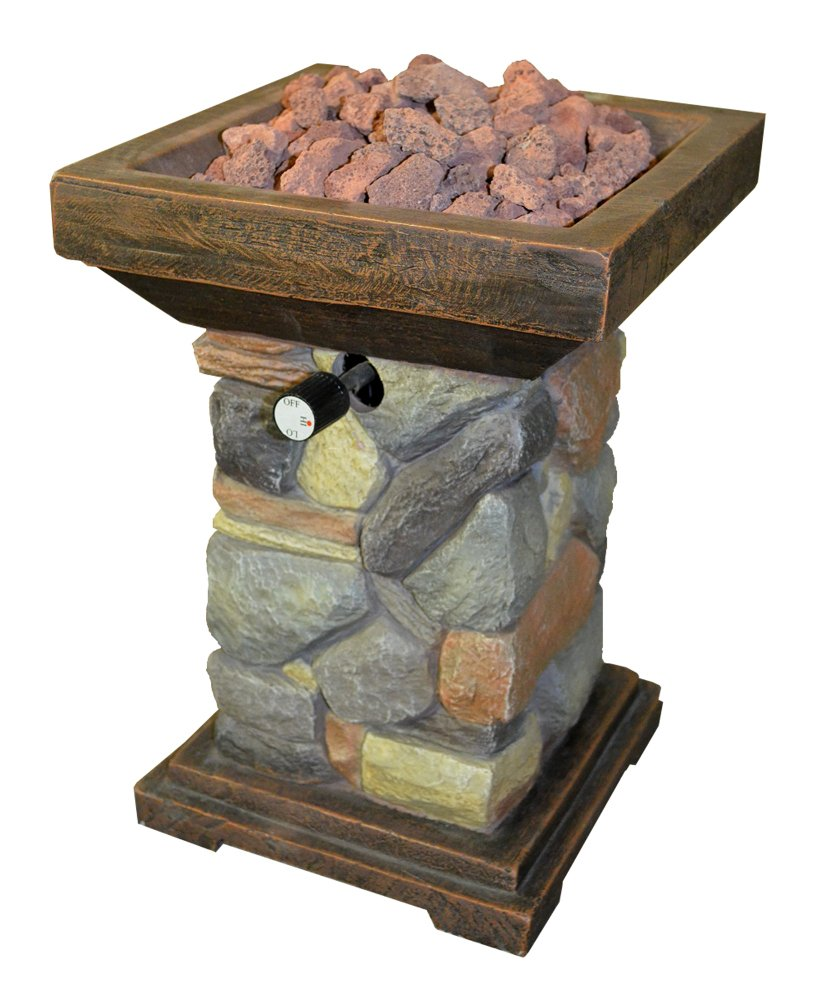 The Oliver Propane Gas Tabletop Outdoor Patio Envirostone Column Fire Bowl