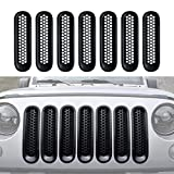 [Upgrade Clip in Version] IPARTS Matte Black Front Grill Mesh Grille Inserts Kit for Jeep Wrangler & Wrangler Unlimited 2007-2015 - 7PCS