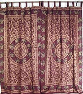 Burgundy Gold Print Home Bedroom Indian Style Curtain Window Treatment Curtains
