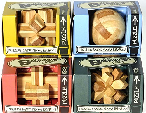 House of Marbles Wooden Bamboo Puzzler Set with 6 Unique Puzzles