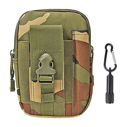 Tactical Pouch - Compact Water-resistant Molle EDC Utility Gadget Gear Tools Organizer - Bundled with Keychain Flashlight (Jungle Camouflage)