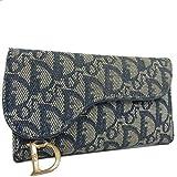 (クリスチャン ディオール) Christian Dior トロッター サドル レザー×キャンバス 三つ折り 長財布 ネイビー 17813jSaM 中古