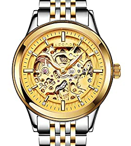 Mens Hollow Automatic Mechanical Gold And Silver Stainless Steel Luminous waterproof Gold Watches